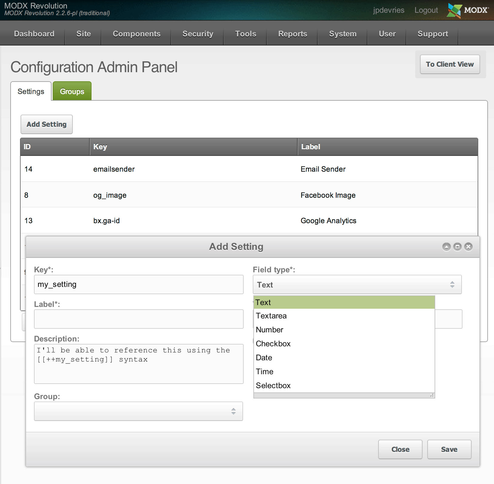 ClientConfig add Setting