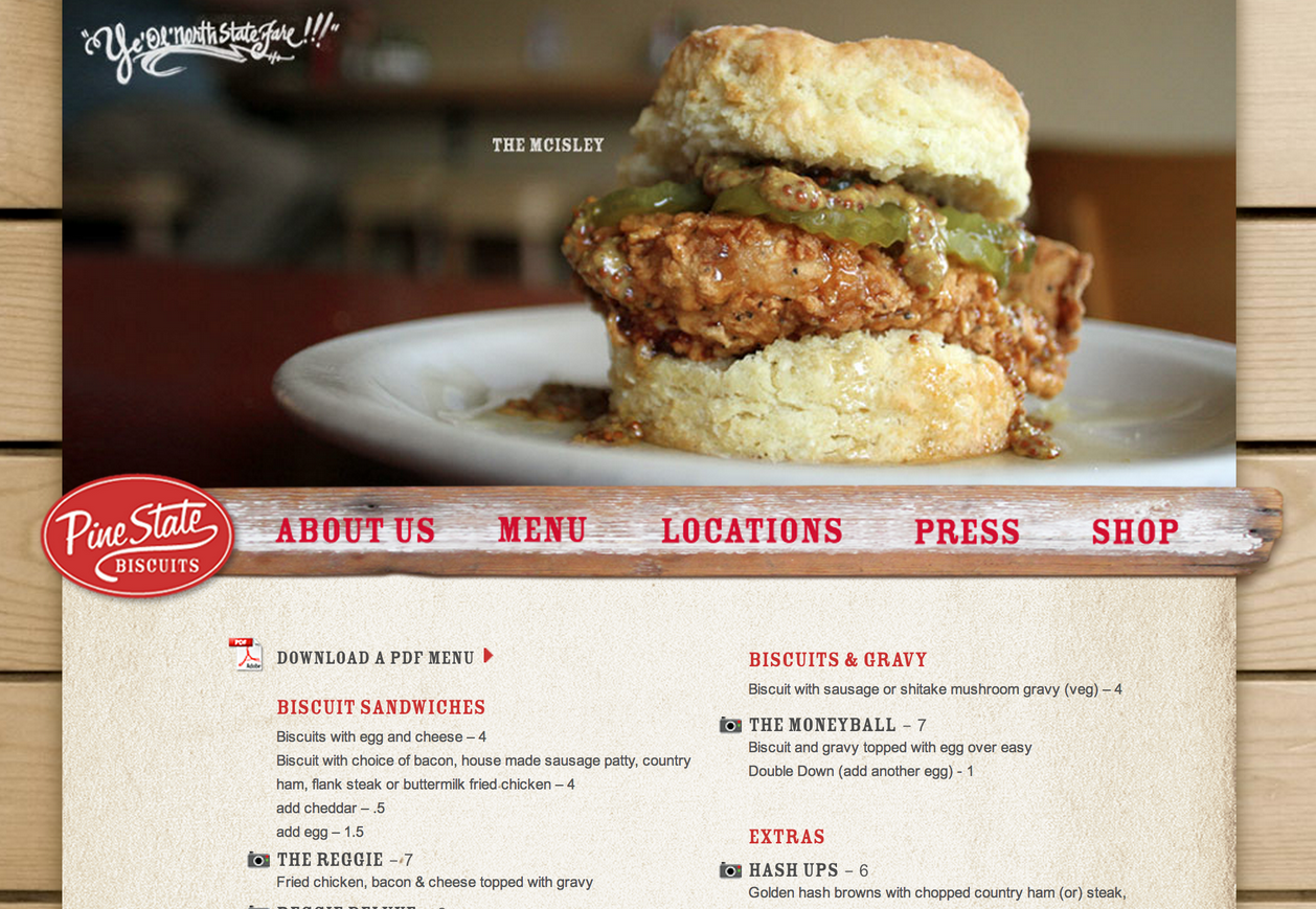 Pine State Biscuits Website